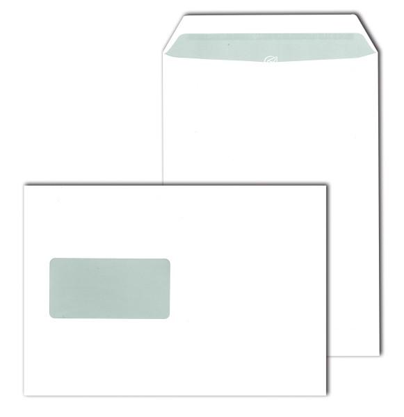 Fenster-Versandtaschen, weiß 90 g DIN C 5 (162 x 229 mm) selbstklebend