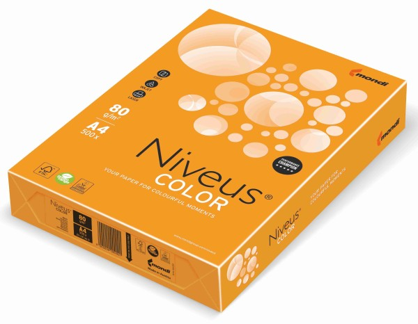 NIVEUS Color mandarine (MO15) - 80 g/qm - DIN A3 BB (297 x 420 mm)